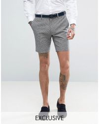 Only & Sons - Skinny Wedding Smart Shorts In Summer Dogstooth - Lyst