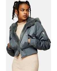 TOPSHOP Reversible Faux Fur And Nylon Cropped Jacket With Hood - Blue