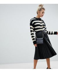 Bershka Pleated Faux Leather Skirt - Black