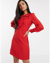 Warehouse Dress With Pussybow Collar - Red