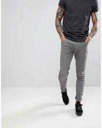 Farah Drake Twill Slim Fit Trousers In Mid Grey