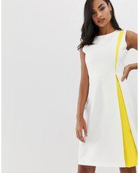 Vesper – A-Line-Kleid mit Einsatz - Weiß