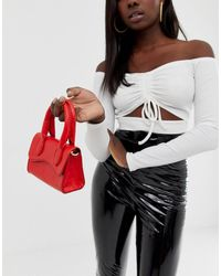 ASOS Micro Grab Bag With Curved Flap And Detachable Strap - Red