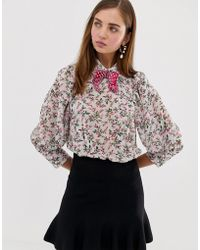 Sister Jane - Blouse With Volume Sleeves And Velvet Bow In Blossom Floral - Lyst