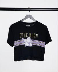 True Religion Buddha Graphic Print Cropped T Shirt - Black