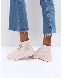 Palladium - Pampa Monochrome Pink Textile Flat Ankle Boots - Lyst