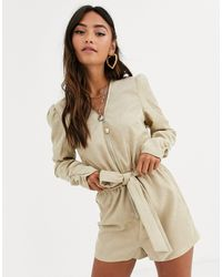 In The Style X Dani Dyer Long Sleeve Corduroy Playsuit - Natural