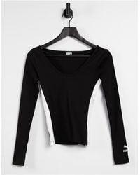PUMA Classics Ribbed Long Sleeve Top - Black