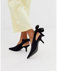 Monki Черные Туфли На Каблуке-рюмочке С Заостренным Носком И Завязкой -черный - Многоцветный