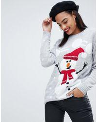 Club L - Christmas Jumper With Snowman Intarsia Design - Lyst