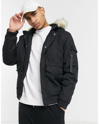 Threadbare Padded Jacket With Faux Fur Hood - Black
