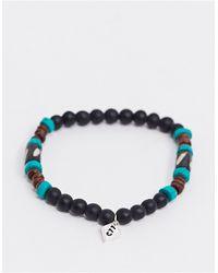 Classics 77 Bracelet à perles avec détail en métal - et marron - Noir