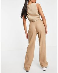 Missguided Co-ord Wide Leg Trouser With Seam Detail - Brown