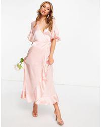 AX Paris Bridesmaid Satin Ruffle Wrap Maxi Dress - Pink