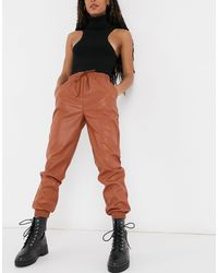 New Look Leather Look jogger - Multicolour