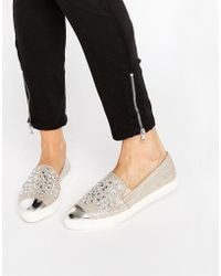 Miss Kg - Lianna Gold Embellished Point Plimsolls - Lyst