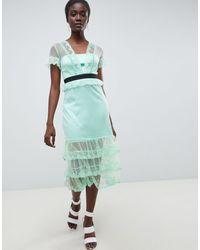 Three Floor Tiered Midi Dress With Contrast Waistband - Multicolour
