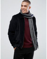 New Look - Striped Scarf In Black And White - Lyst