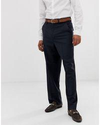 ASOS Pantalon large habillé 100% laine - Bleu marine