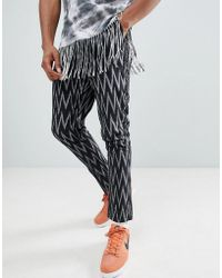 ASOS - Festival Tapered Trousers In Black Aztec Print - Lyst