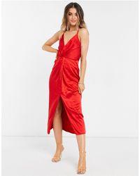 Liquorish Satin Halterneck Midi Dress - Red