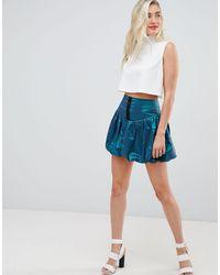 ASOS – Mini-Ballonrock aus zweifarbigem Material - Blau