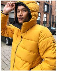 Pull&Bear Желтая Дутая Куртка С Капюшоном -желтый