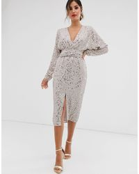 ASOS Midi Dress With Batwing Sleeve And Wrap Waist - Multicolour