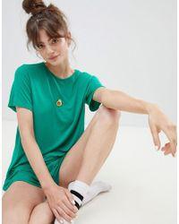 Adolescent Clothing Pijama de camiseta y pantalones cortos con aguacate bordado de - Verde
