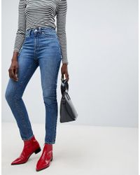 Vero Moda Aware High Waist Straight Leg Jeans In Blue