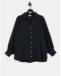 TOPSHOP Gauze Shirt - Black