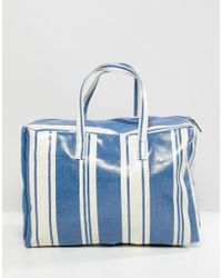 Mango - Stripe Plastic Tote In Blue Multi - Lyst