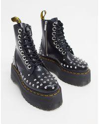 Dr. Martens Черные Ботинки На Платформе С Заклепками Jadon Max-черный