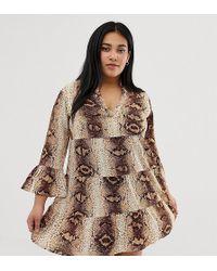 AX Paris Snake Print V Neck Shift Dress - Gray