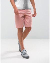 Bershka | Slim Fit Chino Short In Pink | Lyst