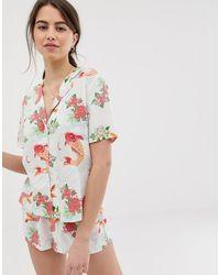ASOS Pyjamashortset Met Goudvisprint Van 100% Modal - Meerkleurig