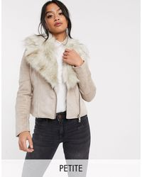 River Island Suedette Jacket With Faux Fur Collar - Gray