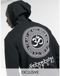 Only & Sons Oversized Hoodie With Om Back Print - Black