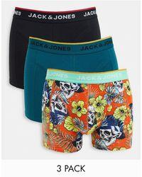 Jack & Jones 3 Pack Trunks With Floral Skull Print Green Black