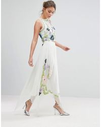 Frock and Frill - Frock & Frill Floral Sequin Midi Skirt - Lyst