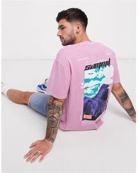TOPMAN Розовая Oversized-футболка С Принтом На Спине -розовый
