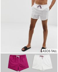 ASOS Tall Swim Shorts In Purple & White Short Length Save