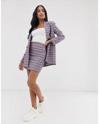 ASOS Suit Mini Skirt In Purple Check