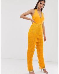 Yellow Floral Lavish Alice Women/'s Twisted Front Bandeau Jumpsuit