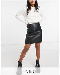 New Look Minifalda negra efecto cuero - Negro