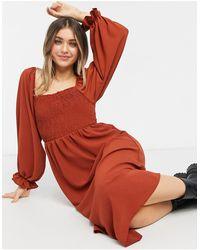 New Look - Платье Миди С Квадратным Вырезом И Сборками -красный - Lyst