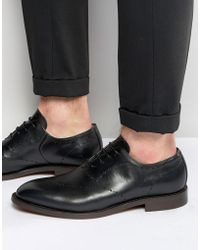 H by Hudson Twain Leather Shoes - Black