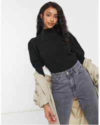 Object High Neck Knitted Top With Puff Sleeve - Black