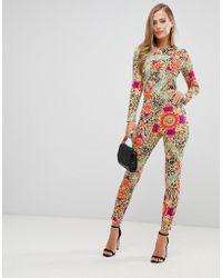 Flounce London Combinaison ajustée avec imprimé foulard - Multicolore