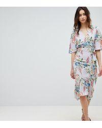 ASOS - Asos Design Tall Floral Print Kimono Sleeve Wrap Midi Dress - Lyst